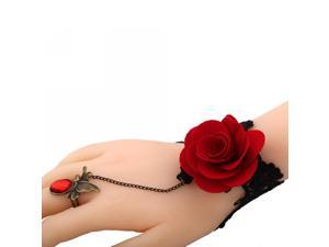 Merdia Fashion Black Lace w/ a Red Rose Charm and Adjustabel Ring Jewellry Set