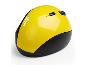 Qisan USB Wireless 800-1200-1600 DPI E100 Ergonomic Vertical Mouse-Yellow