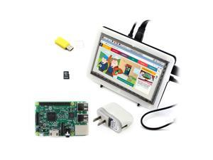 Raspberry Pi 3 Model B + 7inch HDMI LCD (C) + Bicolor Case + 8GB Micro SD Card + Power Adapter