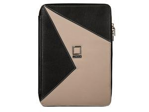 Lencca - Minky Edition Portfolio Carrying Case, Elegance Executive Business Travel High Quality Eco Friendly Leather For all devices from 8 to 10.9 inch Screen (Onyx/Taupe)