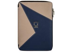 """Lencca Minky Edition Portfolio Carrying Case Eco Friendly Leather For Devices 8""""-10.9"""" Screen (Blue/Taupe)"""