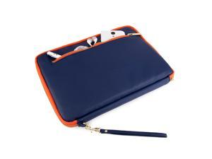 VanGoddy Midnight Blue with Orange Trim Irista sleeve Case for 8.9 to 10.1 inch devices