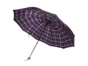 Wired 10 Frame Water / Wind / UV Resistant Shield Manual Umbrella (Adult Sized) (Blue and Red Plaid)