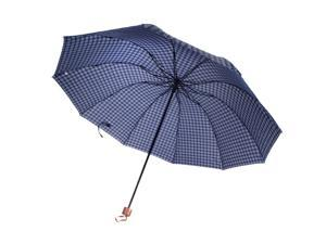 Wired 10 Frame Water / Wind / UV Resistant Shield Manual Umbrella (Adult Sized) (Blue Plaid with Red Lining)