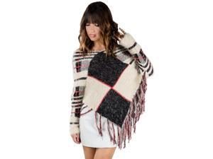 Men or Woman's Modern Blend Knit Checker Poncho (Black/Red/White) [Adult Sized] (Unisex Design)