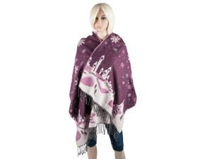 Aerusi Woman's Reversible Snow Village Blanket Cashmere Scarf Wrap Oversized Shawl with Fringes  (Purple Snowflake)