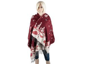 Aerusi Woman's Reversible Snow Village Blanket Cashmere Scarf Wrap Oversized Shawl with Fringes (Red Snowflake)
