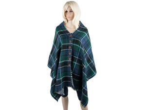 Aerusi Woman's Button Grid Reversible Plaid Style Cotton Winter Scarf (Green / Blue)