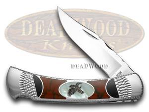 BUCK 110 Mother Of Pearl Eagle Painted Pony 1/100 Folding Hunter Pocket Knife