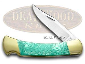 BUCK 110 Folding Hunter Custom Turquoise Corelon Pocket Knife Knives