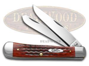 CASE XX Jigged Old Red Bone Pocket Worn Trapper Stainless Pocket Knife Knives