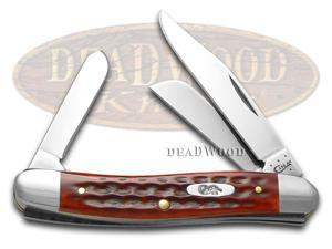CASE XX Jigged Old Red Bone Pocket Worn Stockman Stainless Pocket Knife Knives