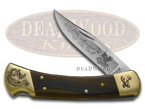 BUCK 110 Wooden Whitetail Buck Scrolled Bolster Stainless Folding Hunter Knives