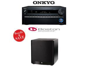 Onkyo TX-NR1030 9.2-Ch Dolby Atmos Ready Network A/V Receiver + A Boston Acoustics ASW 650 10-Inch 650-Watt Powered Subwoofer