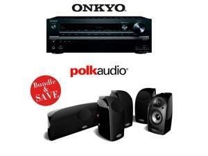 Onkyo TX-NR747 7.2-Channel Networking A/V Receiver + A Polk Audio TL250 5.0 High Performance Home Theater Speaker System