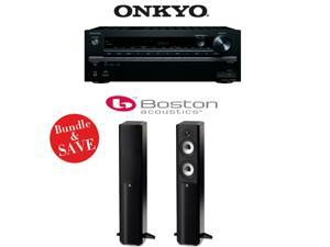 Onkyo TX-NR646 7.2-Channel Network A/V Home Theater Receiver + (1) Pair of Boston Acoustics A 250 Dual 5.25-Inch Floorstanding Loudspeakers (Gloss Black)
