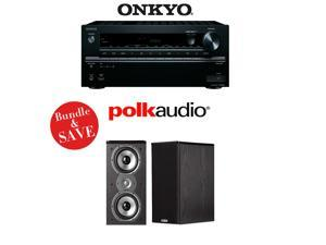 Onkyo TX-NR646 7.2-Channel Network A/V Home Theater Receiver + (1) Pair of Polk Audio TSi 200 Bookshelf Loudspeakers - Bundle