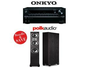 Onkyo TX-NR646 7.2-Channel Network A/V Home Theater Receiver + (1) Pair of Polk Audio TSi 400 3-Way Floorstanding Loudspeakers