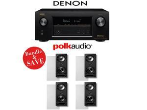 Denon AVR-X3200W 7.2-Channel Full 4K Ultra HD A/V Receiver + (4) Polk Audio 265-LS High Performance In-Wall Loudspeakers - Bundle