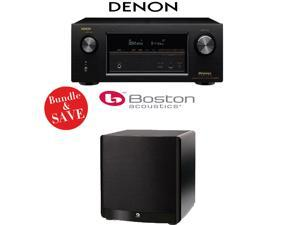 Denon AVR-X3200W 7.2-Channel Full 4K Ultra HD A/V Receiver + A Boston Acoustics ASW650 10-Inch 650-Watt Powered Subwoofer - Bundle
