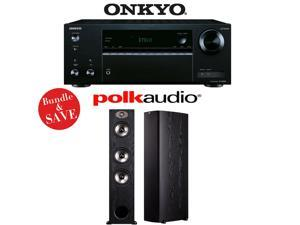 Onkyo TX-NR555 7.2-Channel Network A/V Receiver + (1) Pair of Polk Audio TSx 440T Floorstanding Loudspeakers - Bundle