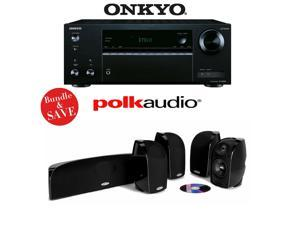 Onkyo TX-NR555 7.2-Channel Network A/V Receiver + A Polk Audio TL350 Blackstone 5.0 Home Theater Speaker Package