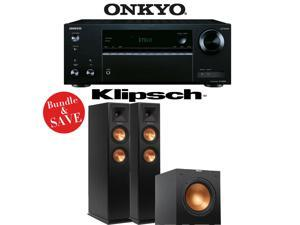 Onkyo TX-NR555 7.2-Channel Network A/V Receiver + (1) Pair of Klipsch RP-250F Floorstanding Loudspeakers + (1) Klipsch R-10SW Powered Subwoofer - Bundle
