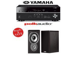 Yamaha RX-V681BL 7.2-Channel 4K Network A/V Receiver + (1) Pair of Polk Audio TSi 100 Bookshelf Loudspeakers - Bundle
