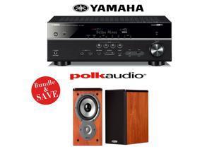 Yamaha RX-V581BL 7.2-Channel Network A/V Receiver + (1) Pair of Polk Audio TSi 100 Bookshelf Loudspeakers (Cherry) - Bundle