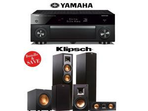 Yamaha RX-A1060BL AVENTAGE 7.2-Channel Dolby Atmos Network A/V Receiver + Klipsch R-26F + Klipsch R-25C + Klipsch R-15M + Klipsch R-12SW - 5.1 Reference Home Theater Package