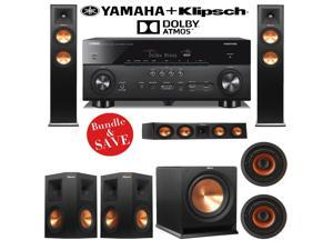 Klipsch RP-250F 5.1.2 Reference Premiere Dolby Atmos Home Theater System with Yamaha RX-A760BL 7.2-Ch A/V Receiver