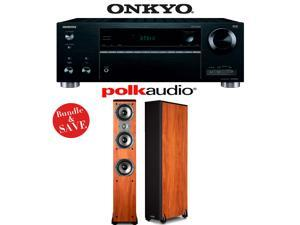 Onkyo TX-RZ710 7.2-Channel Network A/V Receiver + (1) Pair of Polk Audio TSi 400 Floorstanding Loudspeakers (Cherry) - Bundle