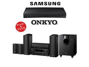 Onkyo HT-S5800 5.1.2 -Channel Dolby Atmos Home Theater System with Samsung BD-J5700 Curved Blu-Ray Player