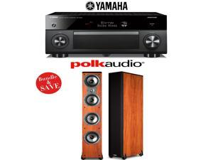 Yamaha RX-A2060BL AVENTAGE 9.2-Channel Network A/V Receiver + (1) Pair of Polk Audio TSi 500 6.5-Inch Floorstanding Loudspeakers (Cherry) - Bundle
