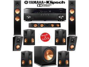 Klipsch Reference Premiere RP-280FA 7.1.2 Dolby Atmos Home Theater Speaker System with Yamaha RX-A860BL 7.2-Ch Network A/V Receiver