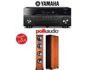 Yamaha AVENTAGE RX-A860BL 7.2 Channel Network AV Receiver + (1) Pair of Polk Audio TSi 500 High Performance Floorstanding Loudspeakers (Cherry) - Bundle