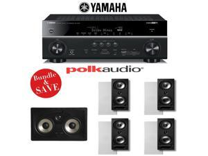 Yamaha RX-V781BL 7.2-Channel 4K A/V Receiver + Polk Audio 265-RT Vanishing Series 5.0 In-Wall Home Theater Speaker System