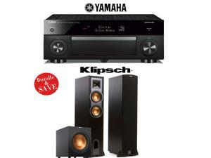 Yamaha RX-A1060BL AVENTAGE 7.2-Channel Dolby Atmos Network A/V Receiver + Klipsch R-26F + Klipsch R-12SW - 2.1 Reference Home Theater Package