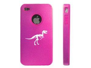 Apple iPhone 4 4S 4G Hot Pink DD132 Aluminum & Silicone Case Dinosaur Fossil