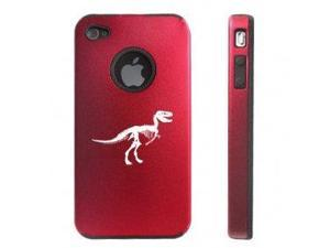 Apple iPhone 4 4S 4G Red DD135 Aluminum & Silicone Case Dinosaur Fossil