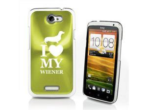 Green HTC One X Aluminum Plated Hard Back Case Cover P342 I Heart Love My Wiener Dachshund