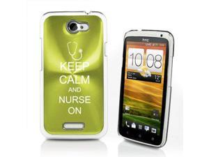 Green HTC One X Aluminum Plated Hard Back Case Cover P396 Keep Calm and Nurse On