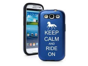 Blue Samsung Galaxy S III S3 Aluminum & Silicone Hard Case SK268 Keep Calm and Ride On Horse