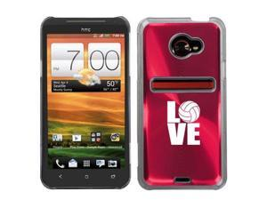 Rose Red HTC Evo 4G LTE Aluminum Plated Hard Back Case Cover N237 Love Volleyball