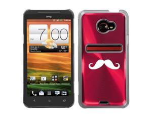 Rose Red HTC Evo 4G LTE Aluminum Plated Hard Back Case Cover N246 Mustache
