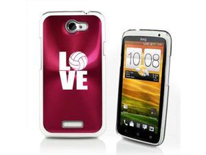 Rose Red HTC One X Aluminum Plated Hard Back Case Cover P236 Love Volleyball