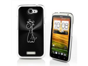 Black HTC One X Aluminum Plated Hard Back Case Cover P22 Cute Giraffe Cartoon