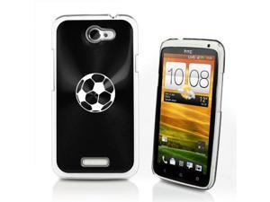 Black HTC One X Aluminum Plated Hard Back Case Cover P257 Soccer Ball