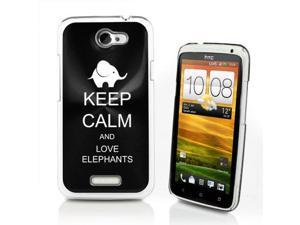 Black HTC One X Aluminum Plated Hard Back Case Cover P375 Keep Calm and Love Elephants