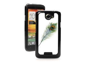 HTC One X Black Hard Back Case Cover PB7 Color Peacock Feather